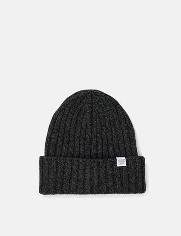 Norse Projects Wide Rib Beanie Hat (Lambswool)- Spinnaker Green