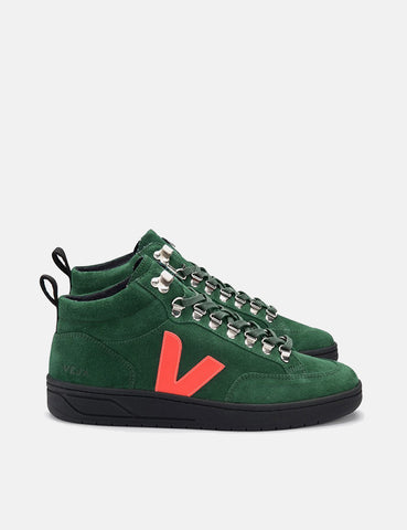 Veja Roraima Suede Trainers - Cypress/Orange Fluo