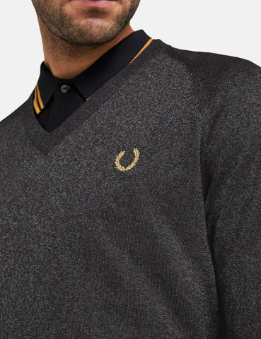 Fred Perry x Miles Kane Metallic V-Neck Jumper - Gunmetal