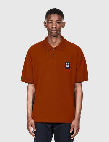 Fred Perry x Raf Simons Short Sleeve Rib Pique Shirt - Brass