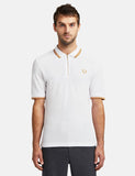 Fred Perry x Miles Kane Zip Detail Pique Shirt - White