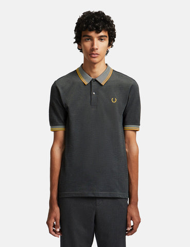 Fred Perry x Miles Kane Two Tone Pique Shirt - Gunmetal