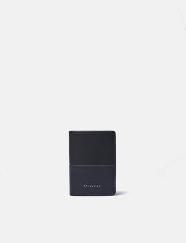 Sandqvist Stellan Card Holder (Leather) - Black/Navy