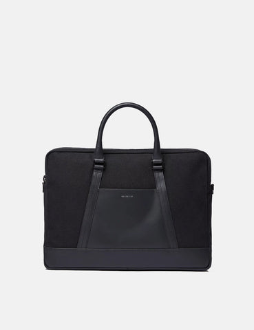 Sandqvist Melker Twill/Leather Briefcase - Black