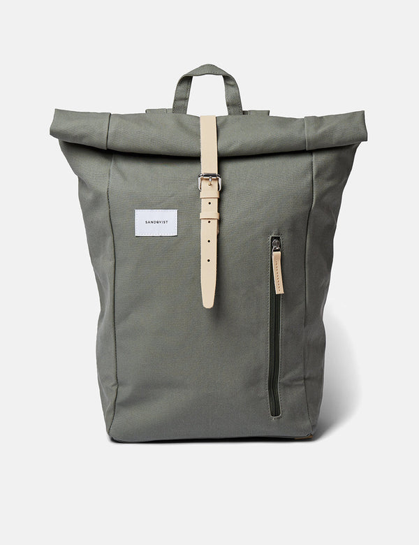 Sandqvist Dante Backpack - Dusty Green/Natural Leather