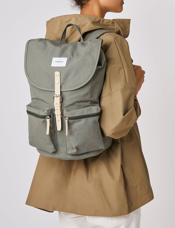 Sandqvist Roald Backpack - Dusty Green/Natural Leather