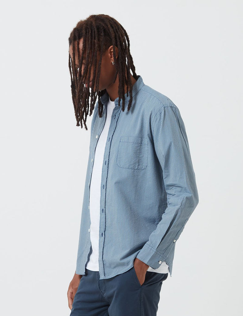 Portuguese Flannel Mao Grandad Collar Shirt - Light Blue
