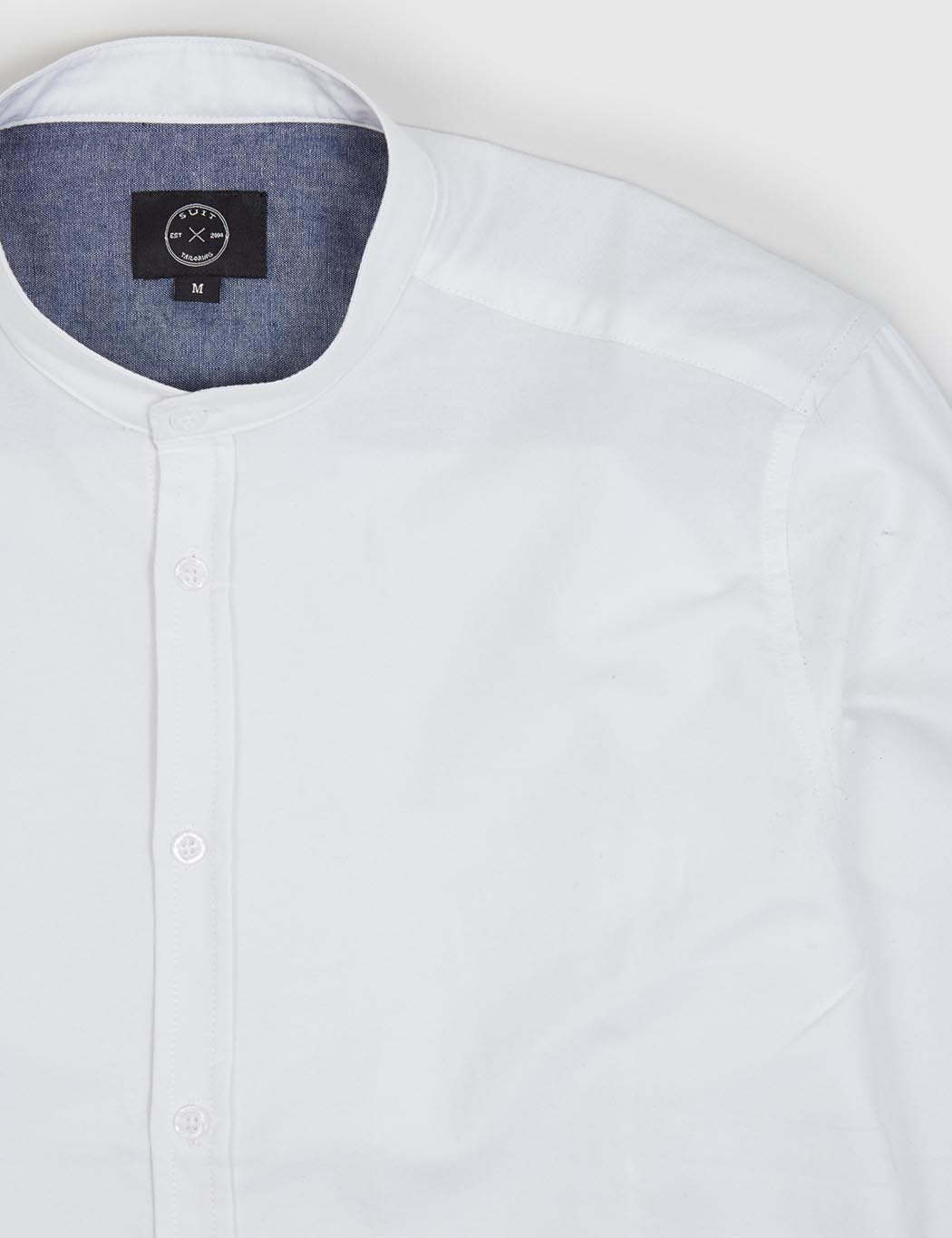Suit Oxford Mandarin Shirt - White