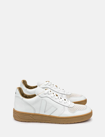 Veja V-10 Leather Trainers - Extra White/Natural