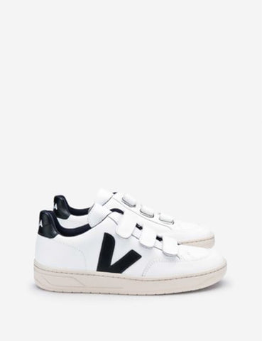 Veja V-12 Leather Trainers - White/Black