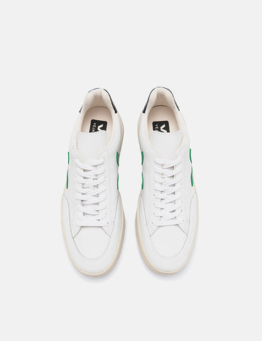 Veja V-12 Leather Trainers - Extra White/Emeraude/Black