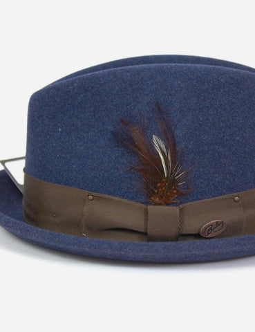 Bailey Tino Felt Crushable Trilby Hat - Denim