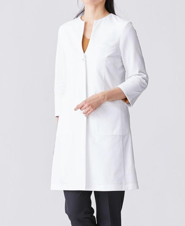 Classico Women`s No Collar Jersey Lab Coat, LUXE White Medical > Lab coats > White Coat > No Collar Jersey Lab Coat > Womens- Classico