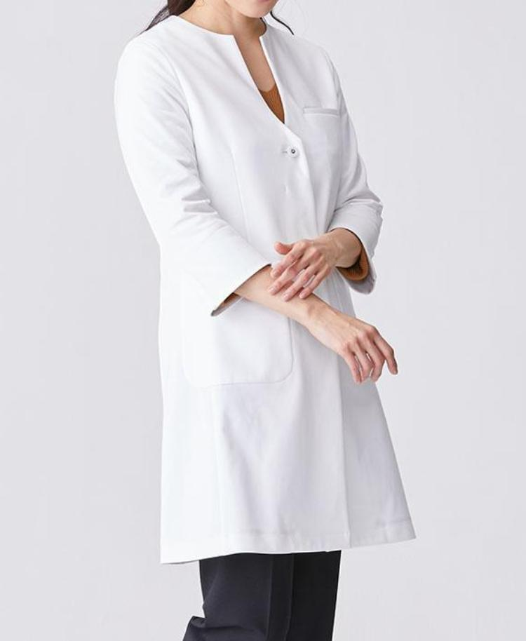 53895291129 Classico Women`s No Collar Jersey Lab Coat, LUXE White Medical > Lab coats