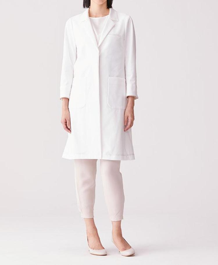 Women's Lab Coat: Flat Collar Jersey Coat LUXE