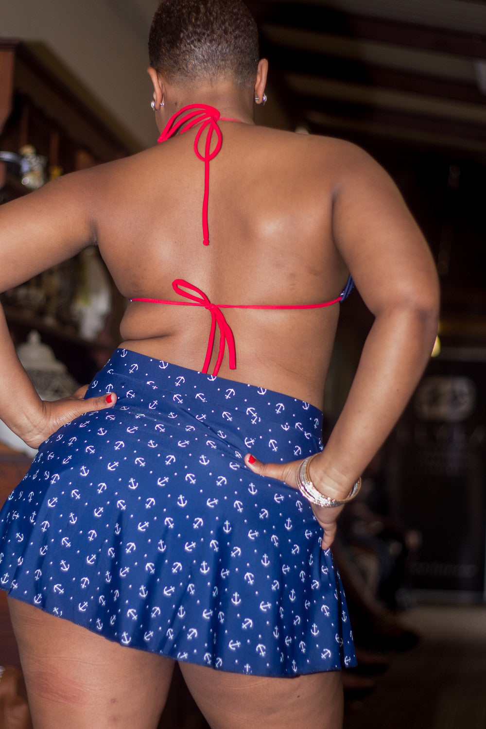 Anchors Swim Skirt - Attached Panty