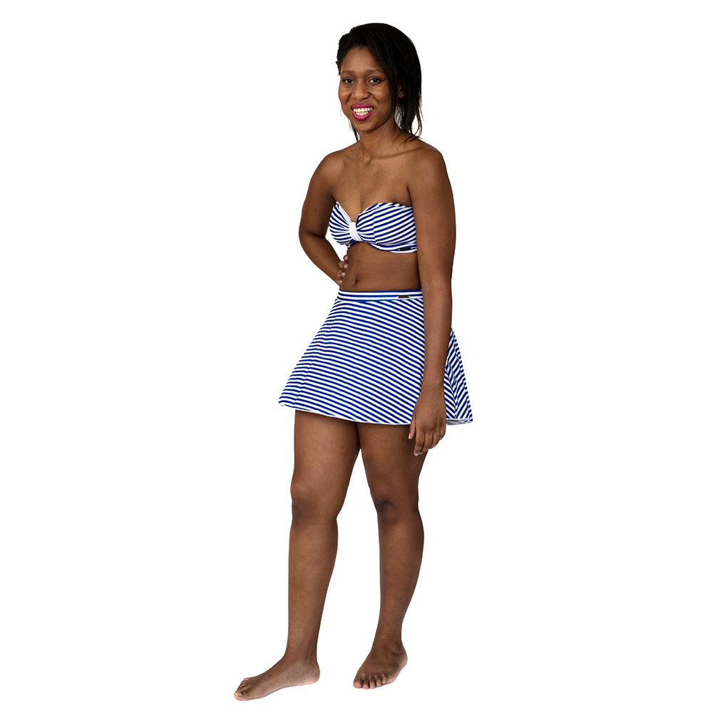 Shorty Swim Skirt  - Blue & White Stripes