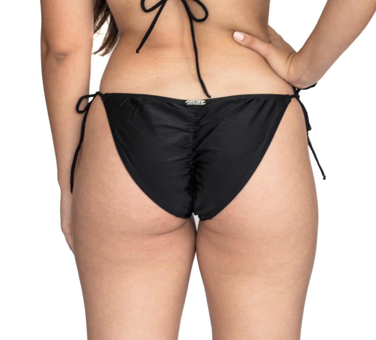 LLYLA Black String Bikini brief - with ruched back