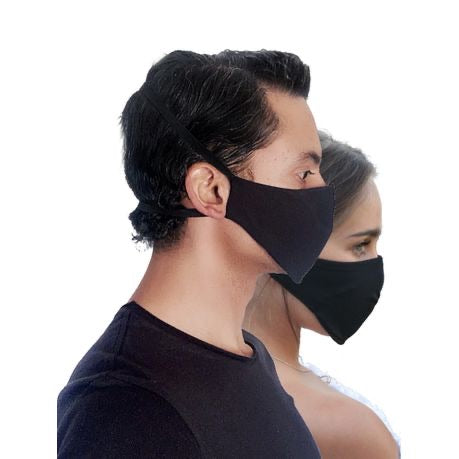 Black 3-Layer, Reusable, Padded Facemasks (Pack of 3)