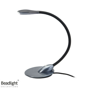 Beadlight Lighting Zonda Over The Bedhead Light: Anodised Titanium With Black Leather By Beadlight