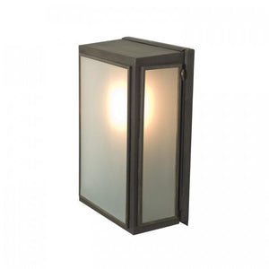Davey Lighting Lighting Box Wall Light: External Glass: Small: Weathered Brass: Frosted Glass By Davey Lighting