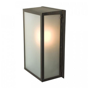 Davey Lighting Lighting Box Wall Light: Internal Glass: Medium: Weathered Brass: Frosted Glass By Davey Lighting