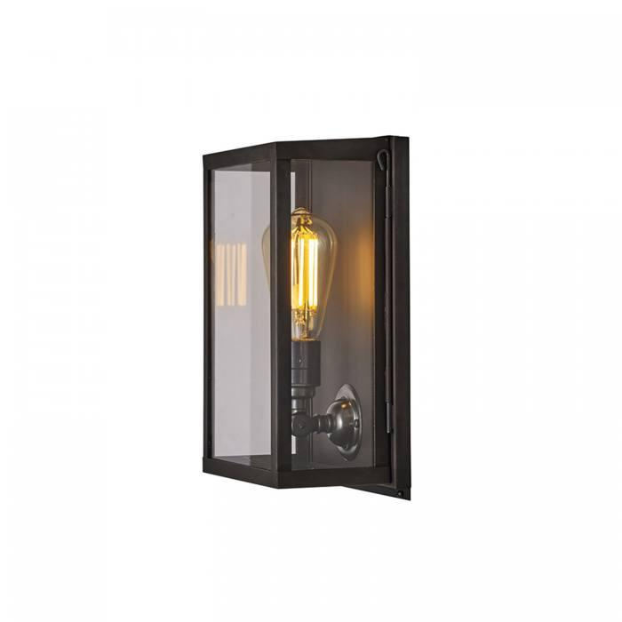 Davey Lighting Lighting Box Wall Light: Internal Glass: Small: Weathered Brass: Clear Glass By Davey Lighting