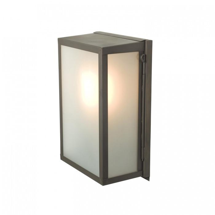 Davey Lighting Lighting Box Wall Light: Internal Glass: Small: Weathered Brass: Frosted Glass By Davey Lighting