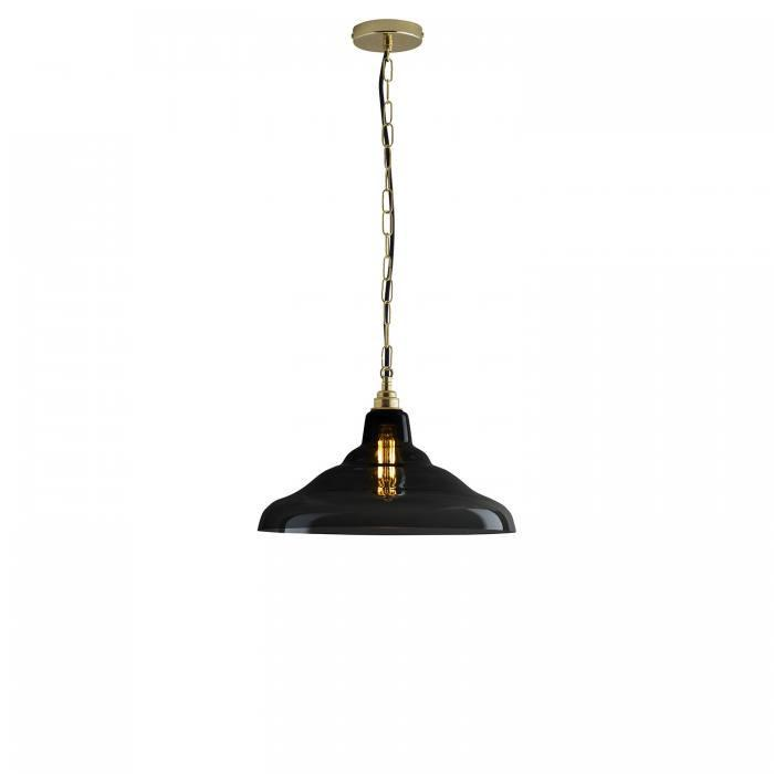 Davey Lighting Lighting Glass School Pendant Light: Size 2: Anthracite And Brass By Davey Lighting