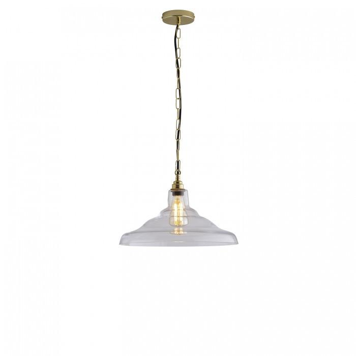 Davey Lighting Lighting Glass School Pendant Light: Size 2: Clear And Brass By Davey Lighting