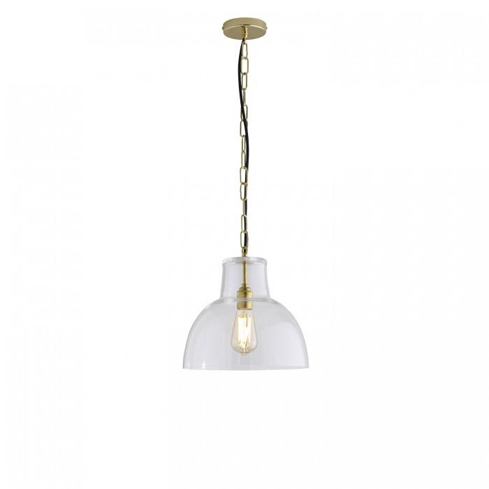 Davey Lighting Lighting Glass York Pendant: Size 2: Clear And Brass By Davey Lighting