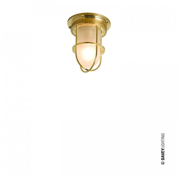 Davey Lighting Lighting Miniature Ship's Companionway Light & Guard: Polished Brass: Frosted Glass By Davey Lighting