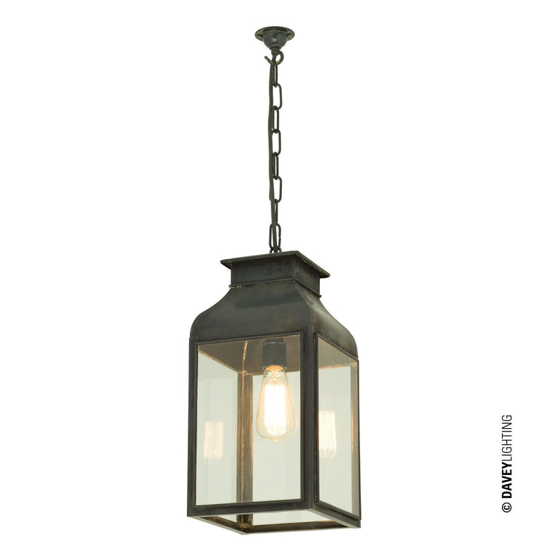 Davey Lighting Lighting Pendant Lantern: Weathered Brass: Clear Glass By Davey Lighting