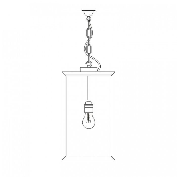 Davey Lighting Lighting Square Pendant: External Glass: Closed Top: Weathered Brass: Frosted Glass By Davey Lighting
