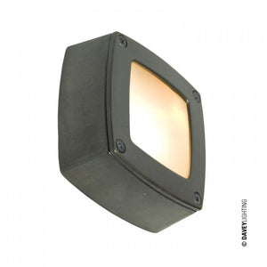 Davey Lighting Wall Ceiling Light Square Plain Bezel Weathered Brass By