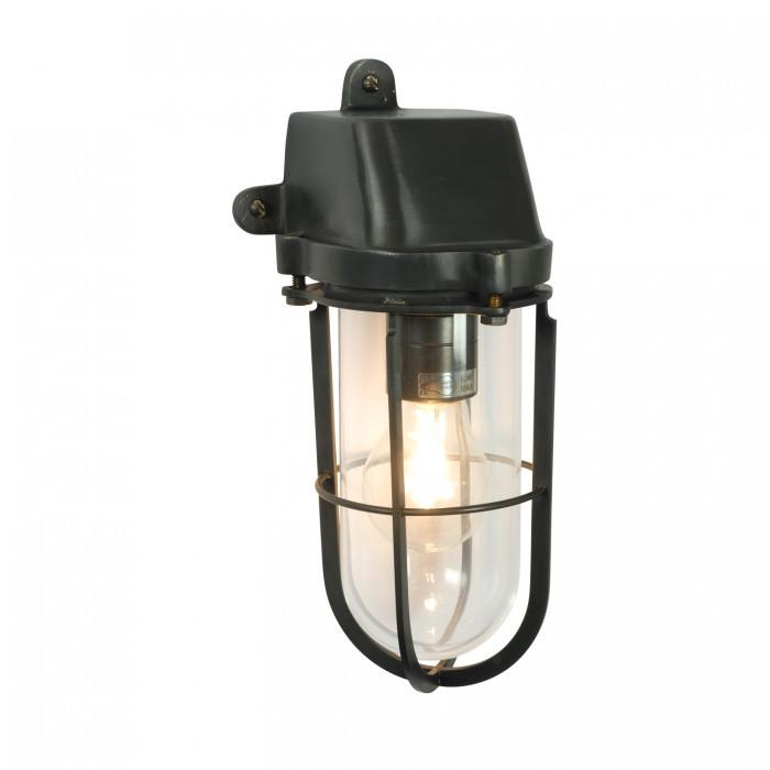 Davey Lighting Lighting Weatherproof Ship's Well Glass: Weathered Brass: Clear Glass E27 By Davey Lighting