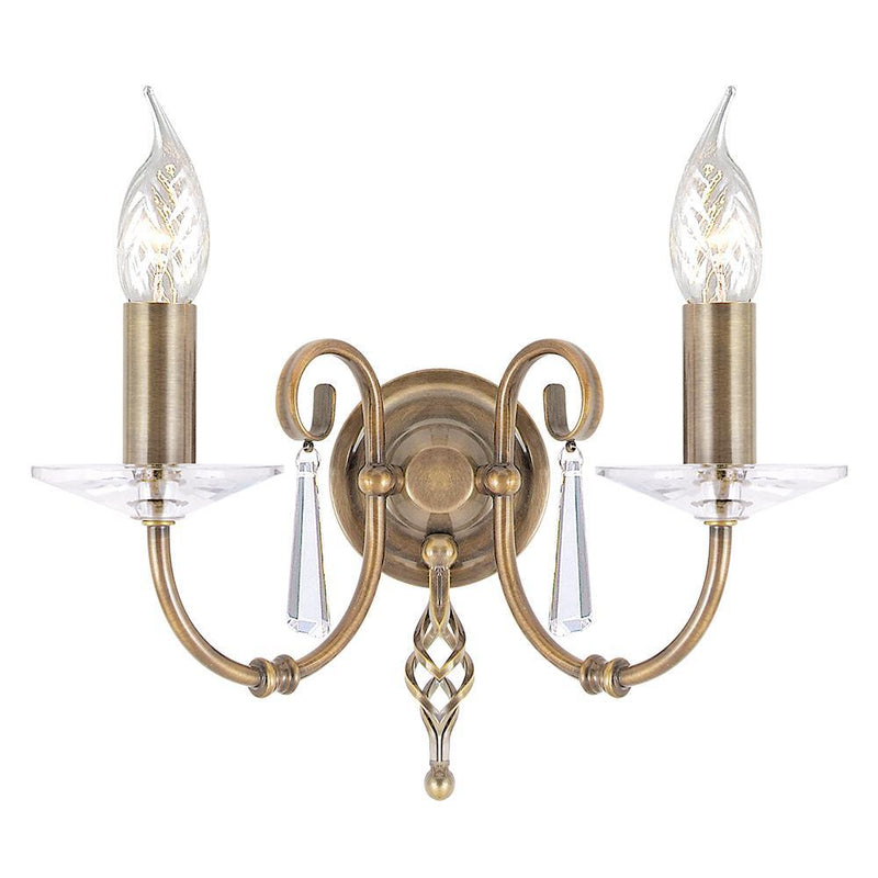 Elstead Lighting Lighting Aegean 2lt Wall Light Aged Brass by Elstead Lighting