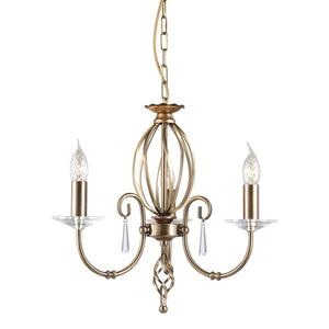 Elstead Lighting Lighting Aegean 3lt Chandelier Aged Brass by Elstead Lighting