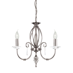 Elstead Lighting Lighting Aegean 3lt Chandelier Polished Nickel by Elstead Lighting