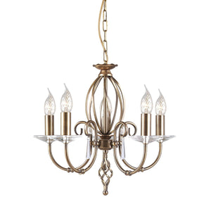 Elstead Lighting Lighting Aegean 5lt Chandelier Aged Brass by Elstead Lighting