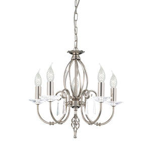 Elstead Lighting Lighting Aegean 5lt Chandelier Polished Nickel by Elstead Lighting