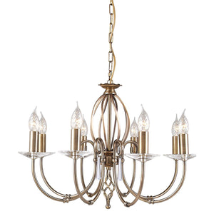Elstead Lighting Lighting Aegean 8lt Chandelier Aged Brass by Elstead Lighting