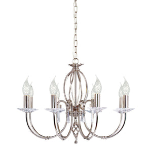 Elstead Lighting Lighting Aegean 8lt Chandelier Polished Nickel by Elstead Lighting