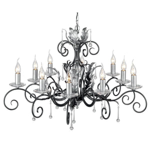 Elstead Lighting Lighting Amarilli 10lt Chandelier Black/Silver by Elstead Lighting