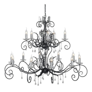 Elstead Lighting Lighting Amarilli 15lt Chandelier Black/Silver by Elstead Lighting