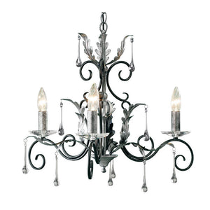 Elstead Lighting Lighting Amarilli 3lt Chandelier Black/Silver by Elstead Lighting