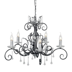 Elstead Lighting Lighting Amarilli 5lt Chandelier Black/Silver by Elstead Lighting