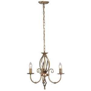 Elstead Lighting Lighting Artisan 3lt Chandelier Aged Brass by Elstead Lighting