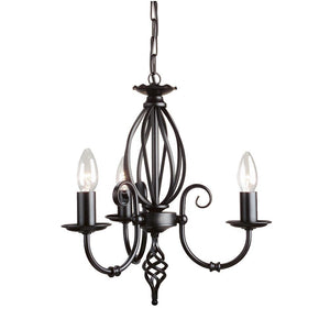 Elstead Lighting Lighting Artisan 3lt Chandelier Black by Elstead Lighting