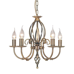 Elstead Lighting Lighting Artisan 5lt Chandelier Aged Brass by Elstead Lighting